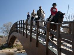2ª Ruta Ecuestre Precval, cruzando el puente sobre el Turia.